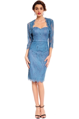 Tania Olsen - Tabitha Beaded Dress - Dusty Blue - front