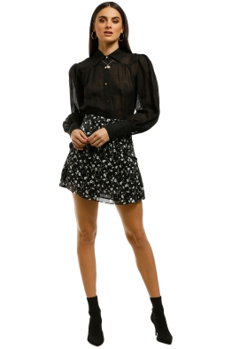 The-East-Order-Lucette-Mini-Skirt-Black-White-Floral-Front