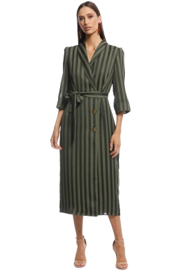 The East Order - Harper Midi Dress - Green Stripes - Front