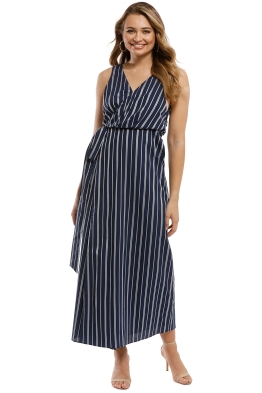The Jetset Diaries - Kensington Midi Wrap Dress - Navy - Front