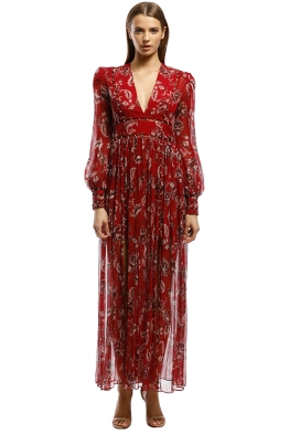 Thurley-Talitha Maxi Dress-Manor Chintz Red-Front