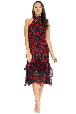 Thurley - English Rose Midi Dress - Black Multi - Front