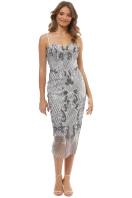 Tinaholy - Estrella Cocktail Dress - Silver - Front