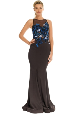 Tinaholy - Floral Mesh Gown - Black - Front