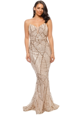 Tinaholy - Gold Sequin Gown - Gold - Front