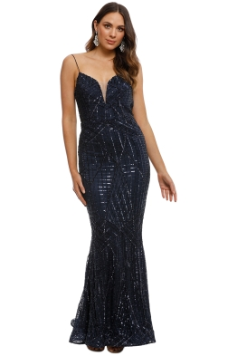 Tinaholy - Tiffany Sequin Gown - Navy - Front