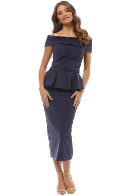 Tinaholy - Navy Off Shoulder Peplum Dress - Front