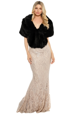 Tulip Bridal - Faux Fur Wrap - Black - Front Model