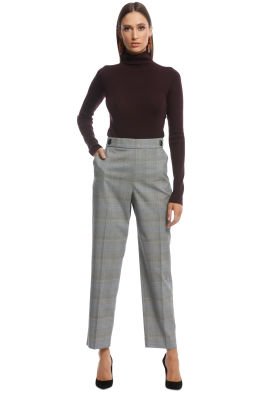 Veronika Maine - Check Slim Pant - Grey - Front
