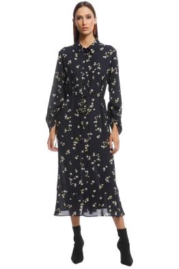 Veronika Maine - Dainty Floral Shirt Dress - Black Floral - Front