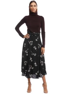 Veronika Maine - Fan Flowers Belted Skirt - Black Floral - Front