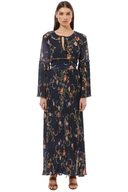 We Are Kindred - Adele Pleated Maxi Dress - Navy Floral - Front