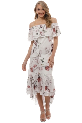 We Are Kindred - Jemima Off Shoulder Bias Dress - White Rose - Front