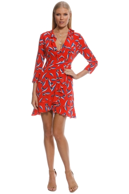 Whistles - Mimi Tulip Print Silk Wrap Dress - Red - Front