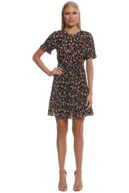 Whistles - Peony Print Pleat Detail Dress - Black - Front