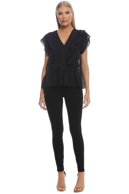 Wish - Sienna Ruffle Top - Black - Front