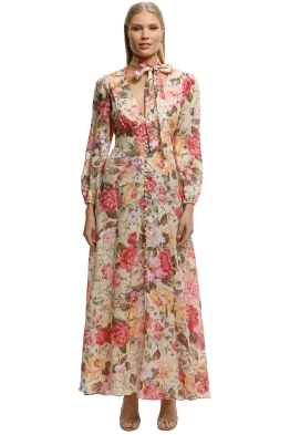 Zimmermann-Honour Plunge Long Dress-Print-Front