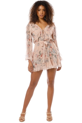 Zimmermann - Bowie Frill Playsuit - Pink - Front