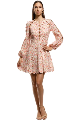 Zimmermann - Goldie Scallop Short Dress - Pink - Front