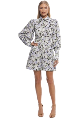 Zimmermann - Ninety-Six Shirt Short Dress - Purple - Front
