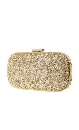 Anya Hindmarch - Marano Metallic Glitter Box Clutch - Front- Gold