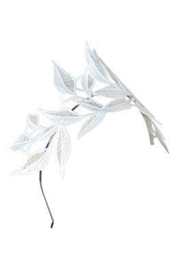 Morgan & Taylor - Shiloh Lace Applique Fascinator - White - Side