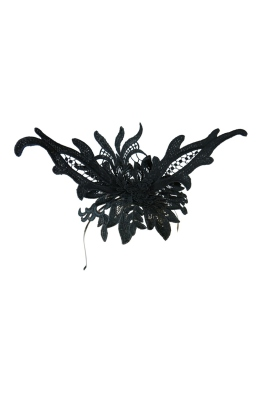 Morgan and Taylor - Valencia Lace Fascinator - Black - Front