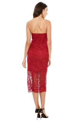 Nicholas the Label - Geo Floral Lace Strapless Dress - Berry Red - Front