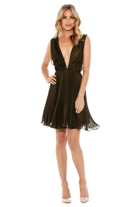 Fame & Partners - Khaki Flutter Dress - Front