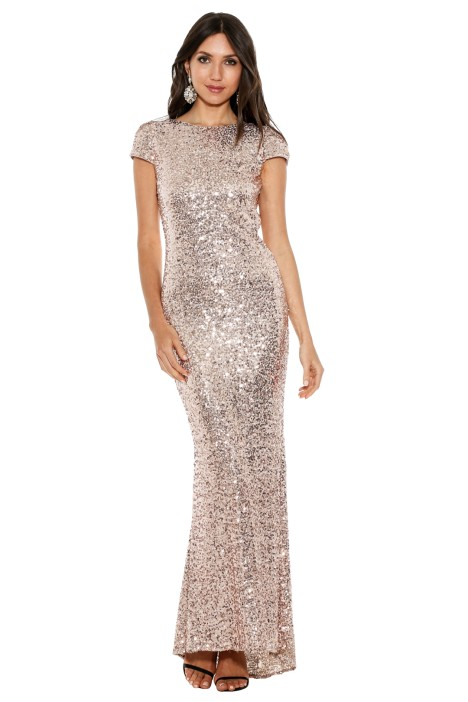 Badgley Mischka - Sequin Cowl Front Back - Pink - Front