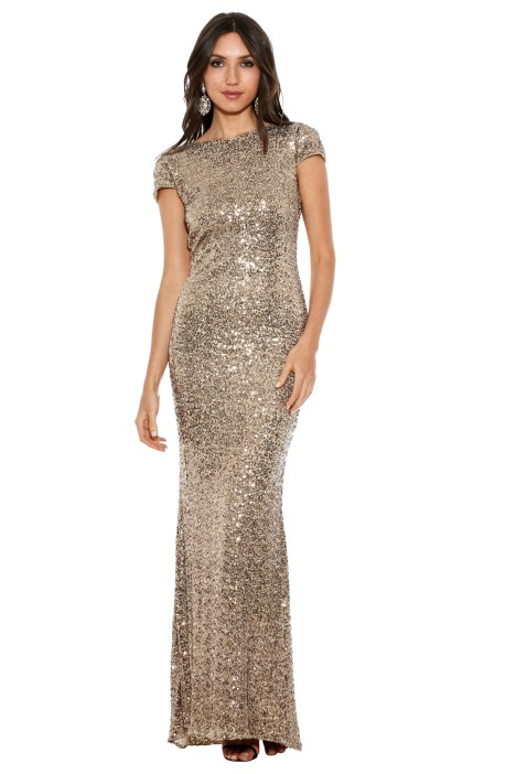 Badgley Mischka - Gold Sequin Cowl Back - Front