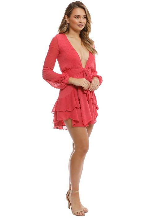 963d0f3e707f For Love & Lemons - Tarta Long Sleeve Mini Dress - Flamingo - Side