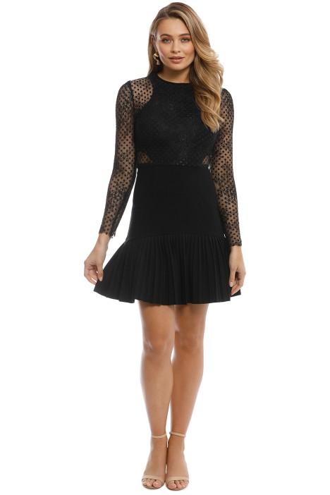 Rebecca Vallance - Spot Lace Mini Dress- Black - Front