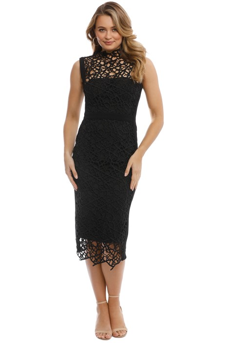 Rebecca Vallance - Sophia Lace Midi Dress - Black - Front
