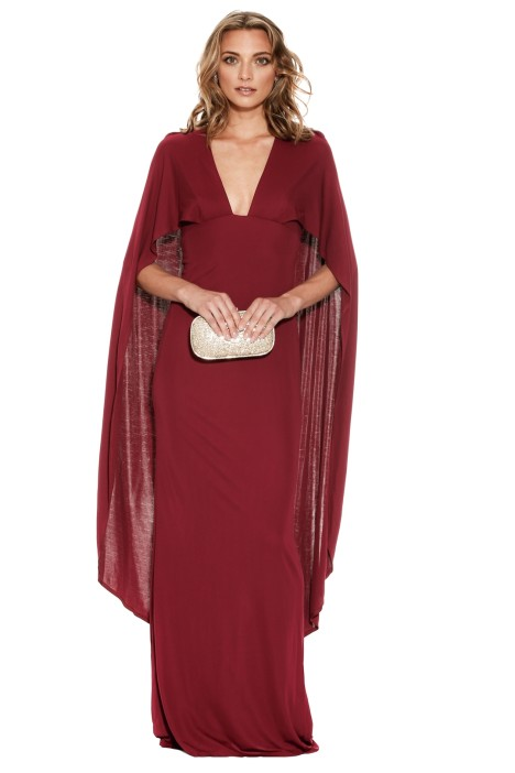 ABS by Allen Schwartz - Cyra Deep V Cape Gown - Wine Red - Front