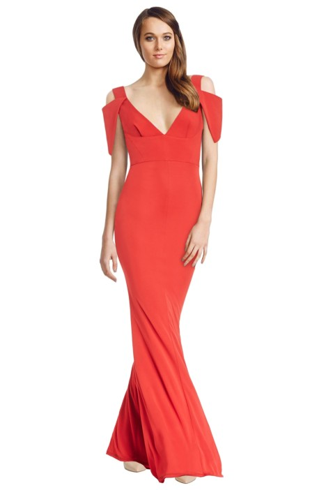ABS by Allen Schwartz - Triangle Sleeve Deep V Neck Gown - Poppy Red - Front