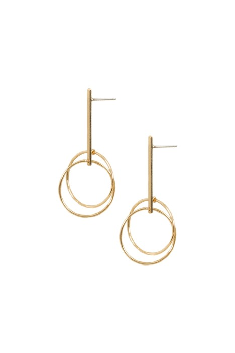 Adorne - Axis Rod Drop Stud Earrings - Gold - Front