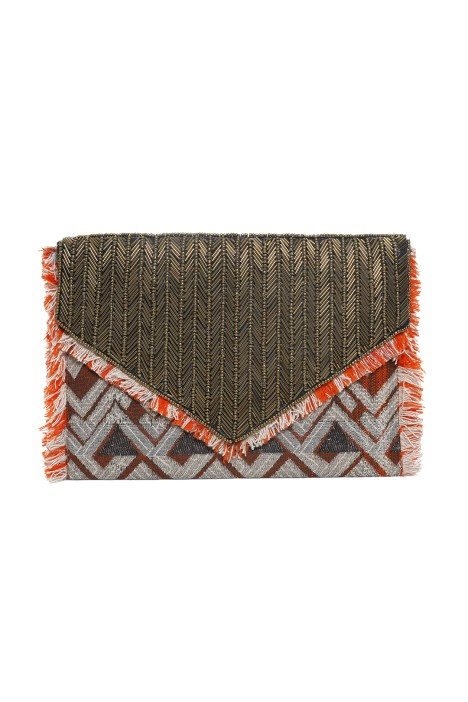 Adorne - Aztec Beaded Tassel Clutch - Orange - Front