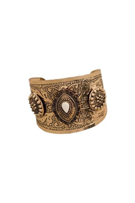 Adorne - Boho Stone Teardrop Metal Cuff - Bronze - Front