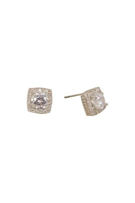 Adorne - Cubic Zirconia Mini Square Stud Earring