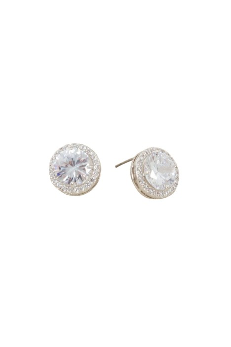 Adorne - CZ Diamante Edge Circle Jewel Stud Earring