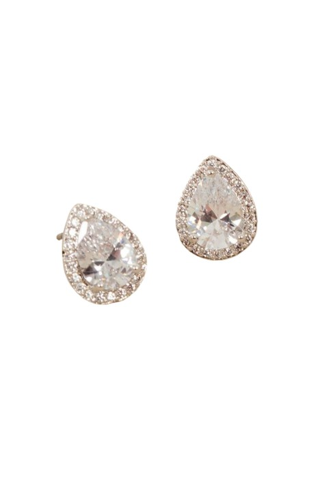 Adorne - CZ Diamante Edge Jewelled Pear Stud Earring - Front
