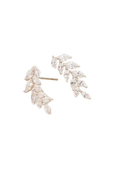 Adorne - CZ Fine Diamante Vine Drop Earring - Silver - Front