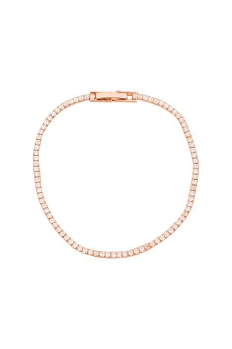 Adorne - CZ Single Strand Diamante Bracelet - Rose Crystal