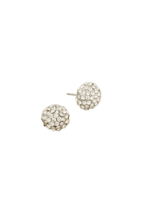 Adorne - Diamante Ball Stud Earring - Silver - Front