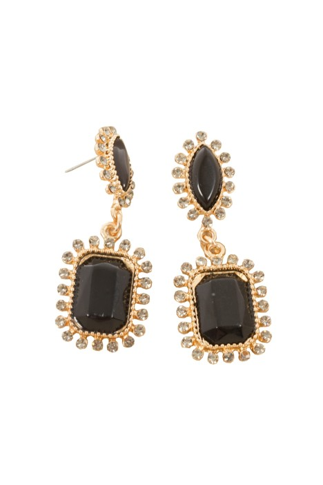 Adorne - Diamante Edge Facet Rectangle Jewel Drop Earring - Black - Front