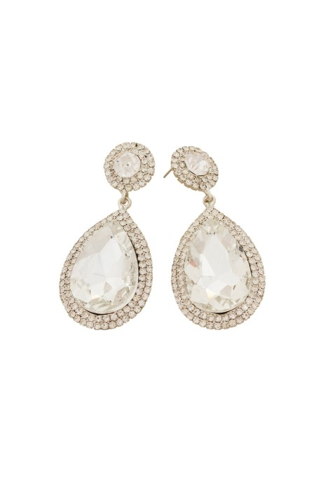 Adorne - Diamante Edge Teardrop Statement Earring - Silver - Front