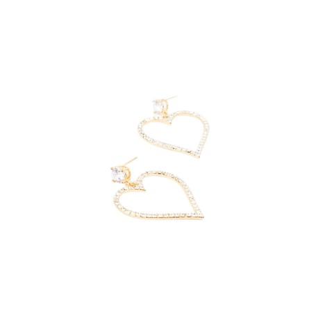 Adorne - Diamante Heart Drop Jewel Stud Earrings - Gold - Product