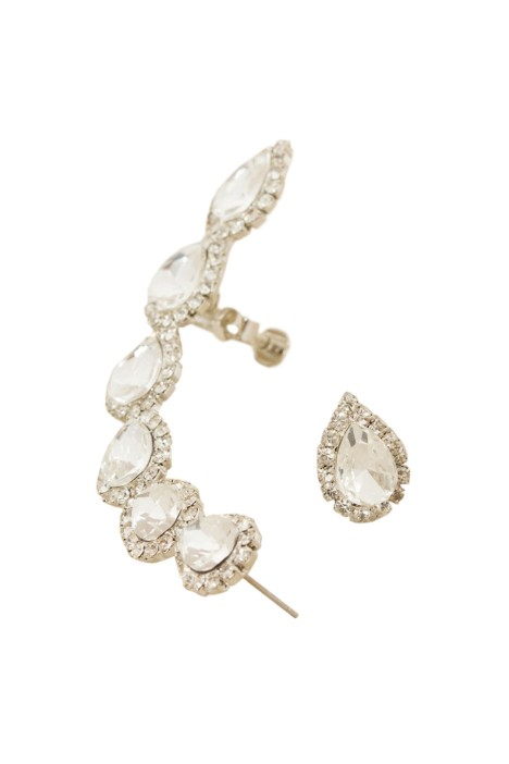 Adorne - Diamante Jewelled Teardrops Ear Cuff and Stud