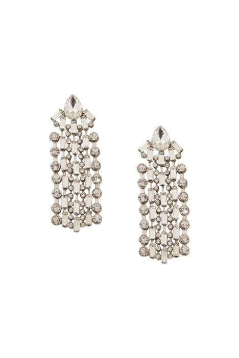 Adorne - Diamante Rows Jewelled Stud Earring - Silver - Front